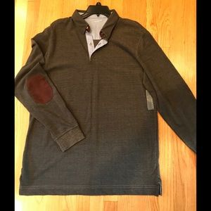 New Men Polo Long Sleeve Pull Over Shirt-L